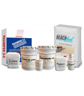 Kits with all the products for the sand coating of a beach-type pool