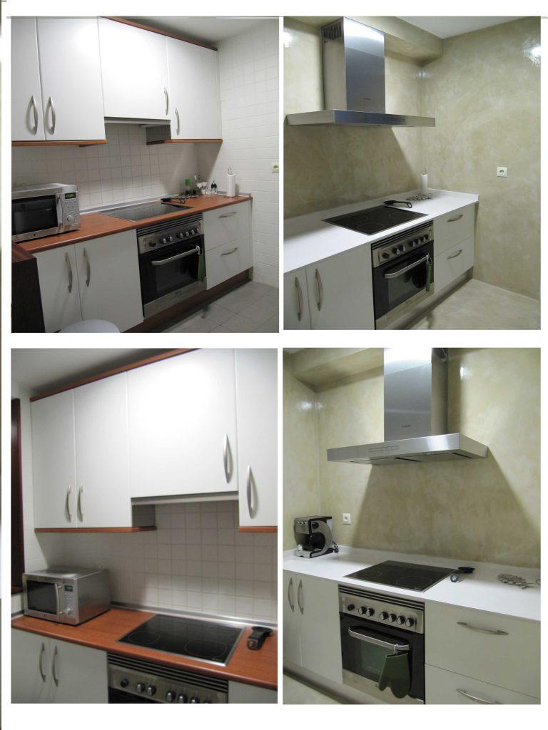 Reformar cocina con microcemento sin quitar los azulejos - Quitar azulejos cocina ...